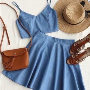 Denim Crop Cami Top & Skirt Set